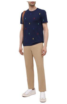 Мужская хлопковая футболка POLO RALPH LAUREN темно-синего цвета, арт. 710842916 | Фото 2