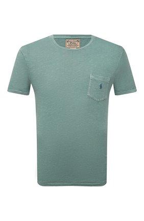 Мужская хлопковая футболка POLO RALPH LAUREN зеленого цвета, арт. 710795137 | Фото 1 (Принт: Без принта; Рукава: Короткие; Материал внешний: Хлопок; Длина (для топов): Стандартные)
