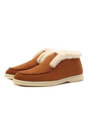 Женские замшевые ботинки LORO PIANA светло-коричневого цвета, арт. FAG3602 | Фото 1 (Женское Кросс-КТ: Зимние ботинки, Дезерты-ботинки; Подошва: Платформа; Каблук высота: Низкий; Материал внешний: Замша)