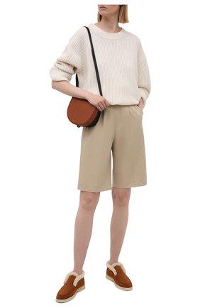 Женские замшевые ботинки LORO PIANA светло-коричневого цвета, арт. FAG3602 | Фото 2 (Женское Кросс-КТ: Зимние ботинки, Дезерты-ботинки; Подошва: Платформа; Каблук высота: Низкий; Материал внешний: Замша)