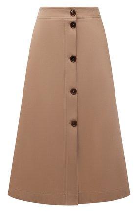 Женская хлопковая юбка BOSS бежевого цвета, арт. 50455299   Фото 1