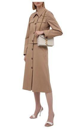 Женская хлопковая юбка BOSS бежевого цвета, арт. 50455299   Фото 2