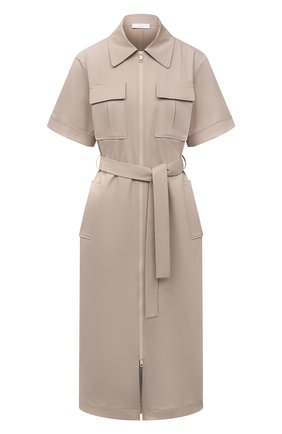 Женское хлопковое платье BOSS бежевого цвета, арт. 50453483 | Фото 1