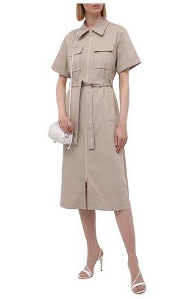 Женское хлопковое платье BOSS бежевого цвета, арт. 50453483 | Фото 2