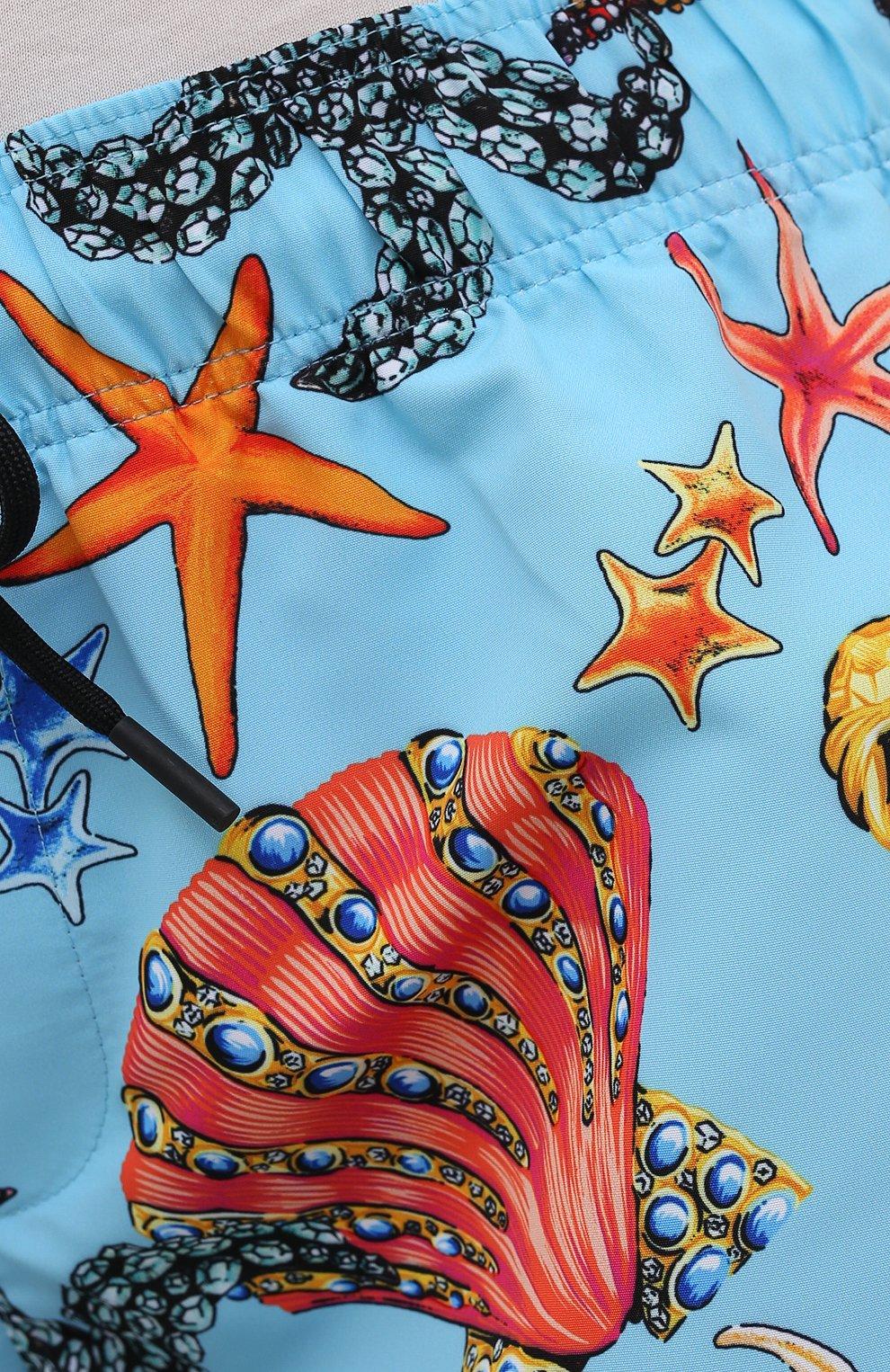 Женские шорты VERSACE голубого цвета, арт. ABD89017/1F01225   Фото 5 (Женское Кросс-КТ: Шорты-одежда, Шорты-пляжная одежда; Длина Ж (юбки, платья, шорты): Мини; Материал внешний: Синтетический материал; Стили: Спорт-шик)