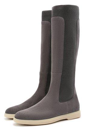 Женские замшевые сапоги SANTONI темно-серого цвета, арт. WSYA59510TISNKHYG80 | Фото 1