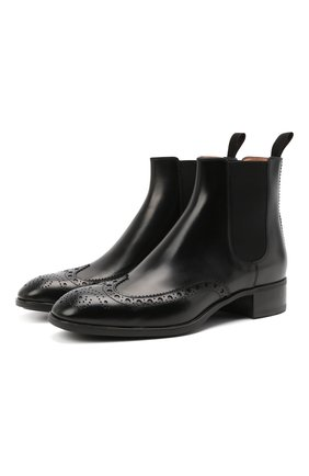 Женские кожаные ботинки SANTONI черного цвета, арт. WTED59585SM0NLESN01 | Фото 1