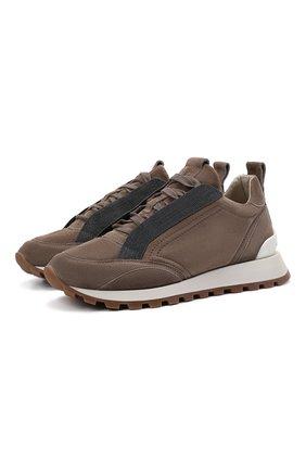 Женские замшевые кроссовки BRUNELLO CUCINELLI коричневого цвета, арт. MZSFG2000P | Фото 1