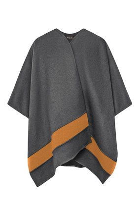 Женская кашемировая накидка LORO PIANA серого цвета, арт. FAI3169 | Фото 1 (Материал внешний: Шерсть; Стили: Кэжуэл; Длина (верхняя одежда): Короткие)