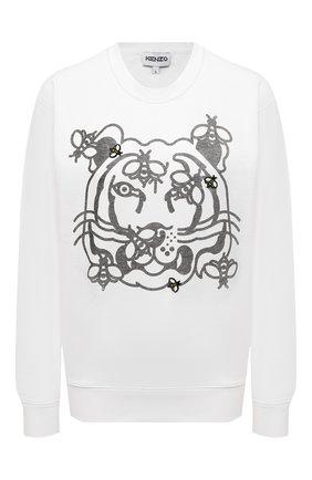Женский хлопковый свитшот KENZO белого цвета, арт. FB52SW8294M0 | Фото 1 (Длина (для топов): Стандартные; Материал внешний: Хлопок; Рукава: Длинные; Стили: Спорт-шик; Женское Кросс-КТ: Свитшот-одежда)
