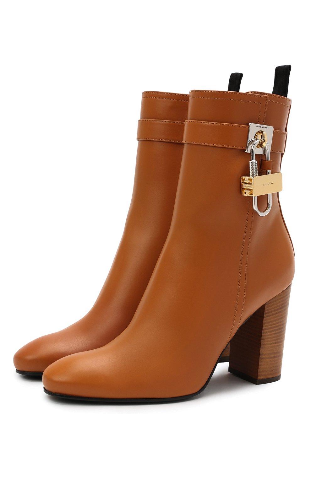 Женские кожаные ботильоны lock GIVENCHY светло-коричневого цвета, арт. BE602QE0YT   Фото 1 (Каблук высота: Высокий; Материал внутренний: Натуральная кожа; Каблук тип: Устойчивый; Подошва: Плоская)