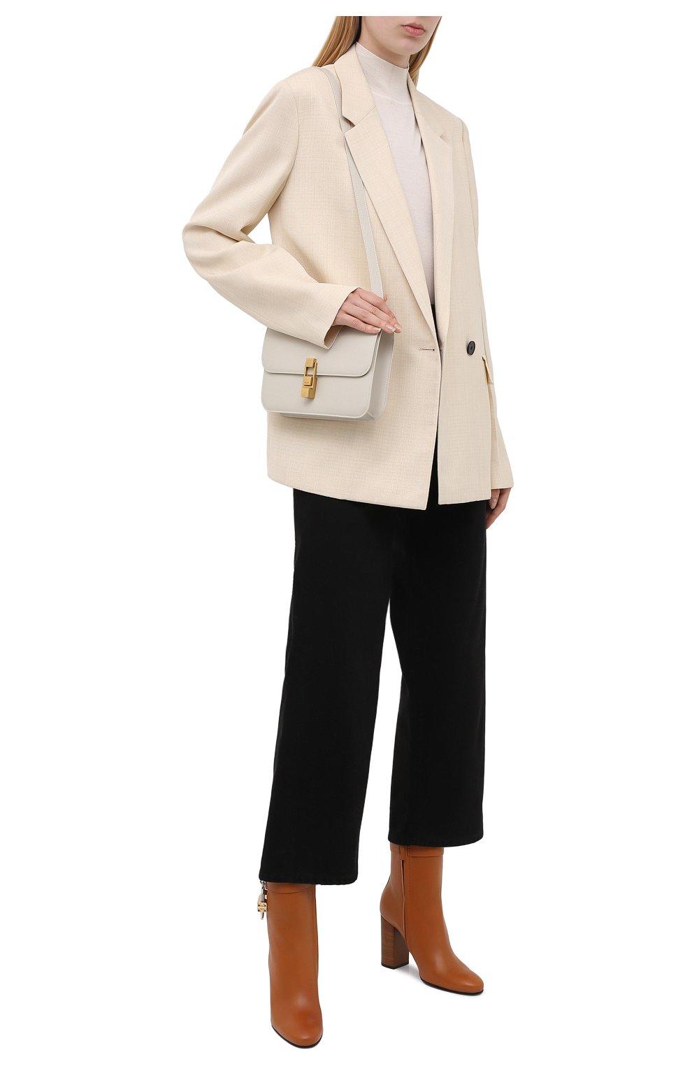 Женские кожаные ботильоны lock GIVENCHY светло-коричневого цвета, арт. BE602QE0YT   Фото 2 (Каблук высота: Высокий; Материал внутренний: Натуральная кожа; Каблук тип: Устойчивый; Подошва: Плоская)