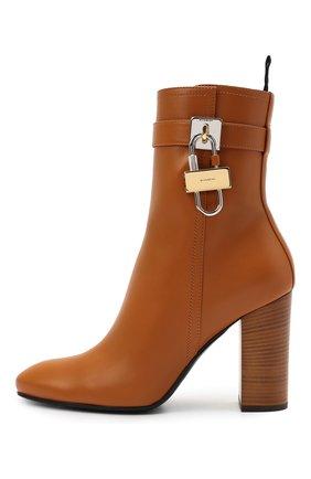 Женские кожаные ботильоны lock GIVENCHY светло-коричневого цвета, арт. BE602QE0YT   Фото 3 (Каблук высота: Высокий; Материал внутренний: Натуральная кожа; Каблук тип: Устойчивый; Подошва: Плоская)