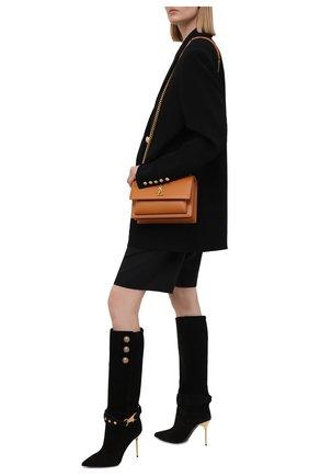 Женские замшевые сапоги bottes robin BALMAIN черного цвета, арт. WN1TA567/LCTA   Фото 2 (Высота голенища: Средние; Подошва: Плоская; Материал внутренний: Натуральная кожа; Каблук высота: Высокий; Материал внешний: Замша; Каблук тип: Шпилька)