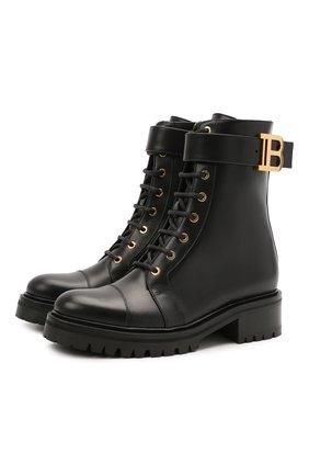 Женские кожаные ботинки romy BALMAIN черного цвета, арт. WN1TC502/LVIT | Фото 1 (Каблук высота: Низкий; Подошва: Платформа; Материал внутренний: Натуральная кожа; Женское Кросс-КТ: Военные ботинки)