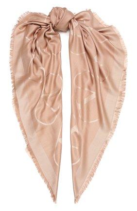 Женская шаль из шелка и шерсти  VALENTINO светло-бежевого цвета, арт. WW2EB104/AJB | Фото 1 (Материал: Текстиль, Шерсть, Шелк; Принт: С принтом)