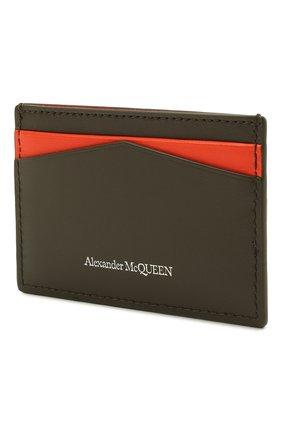 Женский кожаный футляр для кредитных карт ALEXANDER MCQUEEN хаки цвета, арт. 658453/1AAC7 | Фото 2