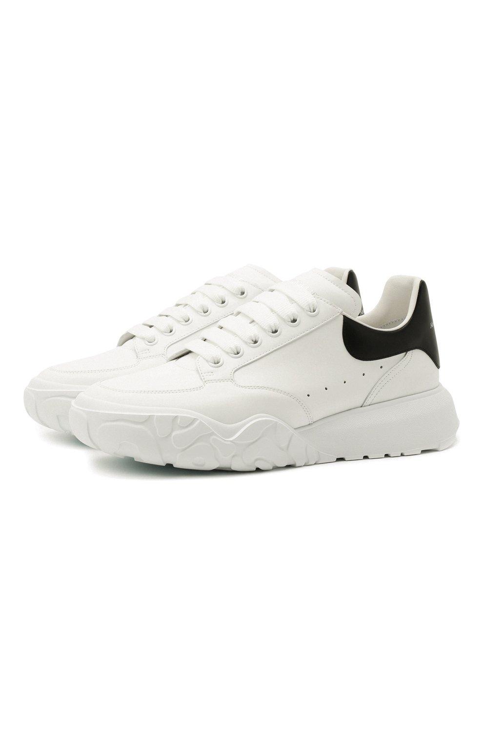 Мужские кожаные кроссовки ALEXANDER MCQUEEN белого цвета, арт. 634619/WIA99 | Фото 1 (Материал внутренний: Натуральная кожа; Стили: Гранж; Подошва: Массивная)