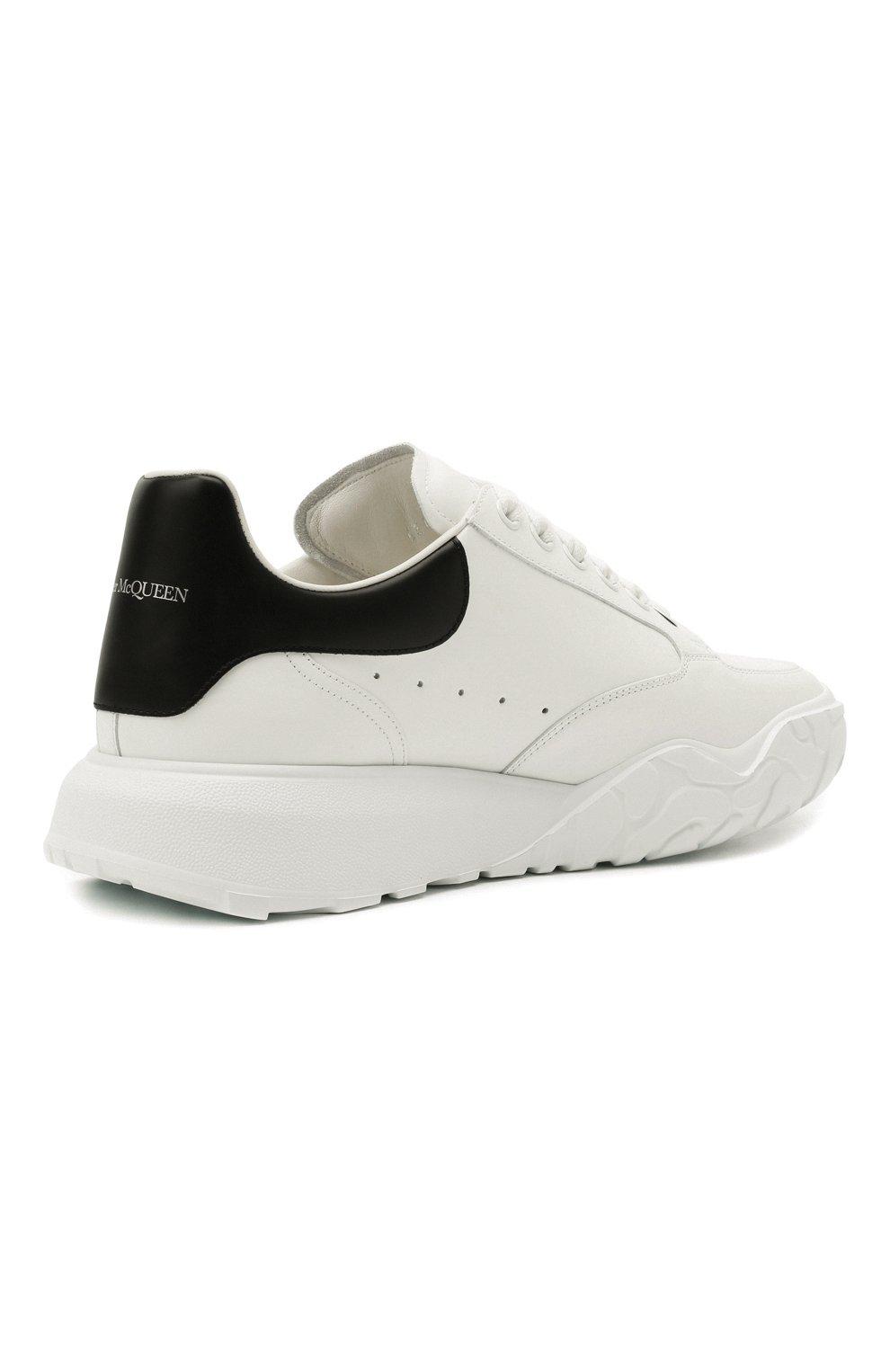 Мужские кожаные кроссовки ALEXANDER MCQUEEN белого цвета, арт. 634619/WIA99 | Фото 5 (Материал внутренний: Натуральная кожа; Стили: Гранж; Подошва: Массивная)