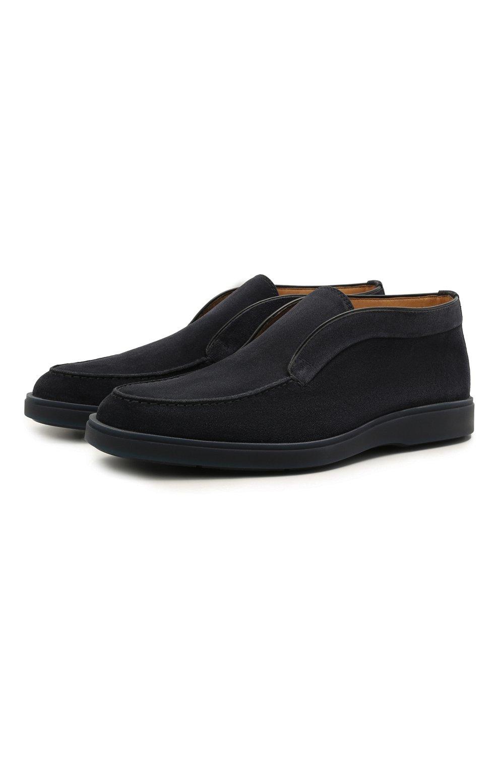 Мужские замшевые ботинки SANTONI темно-синего цвета, арт. MGDG1782300TESVUU60 | Фото 1 (Мужское Кросс-КТ: Ботинки-обувь; Материал внутренний: Натуральная кожа; Подошва: Плоская; Материал внешний: Замша)
