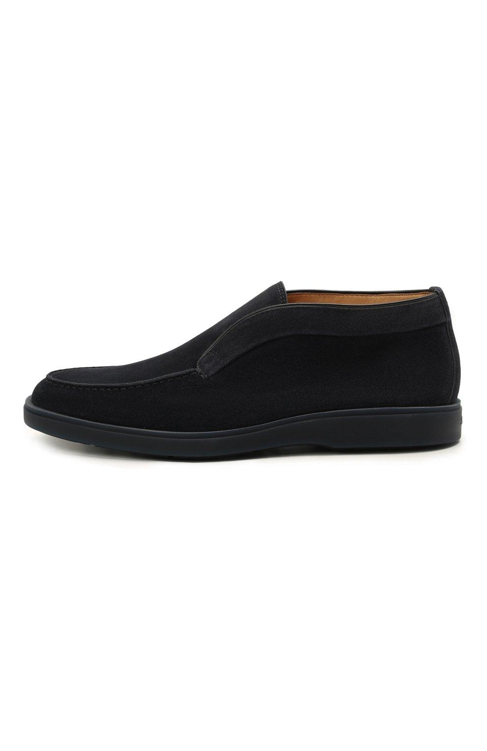 Мужские замшевые ботинки SANTONI темно-синего цвета, арт. MGDG1782300TESVUU60 | Фото 3 (Мужское Кросс-КТ: Ботинки-обувь; Материал внутренний: Натуральная кожа; Подошва: Плоская; Материал внешний: Замша)