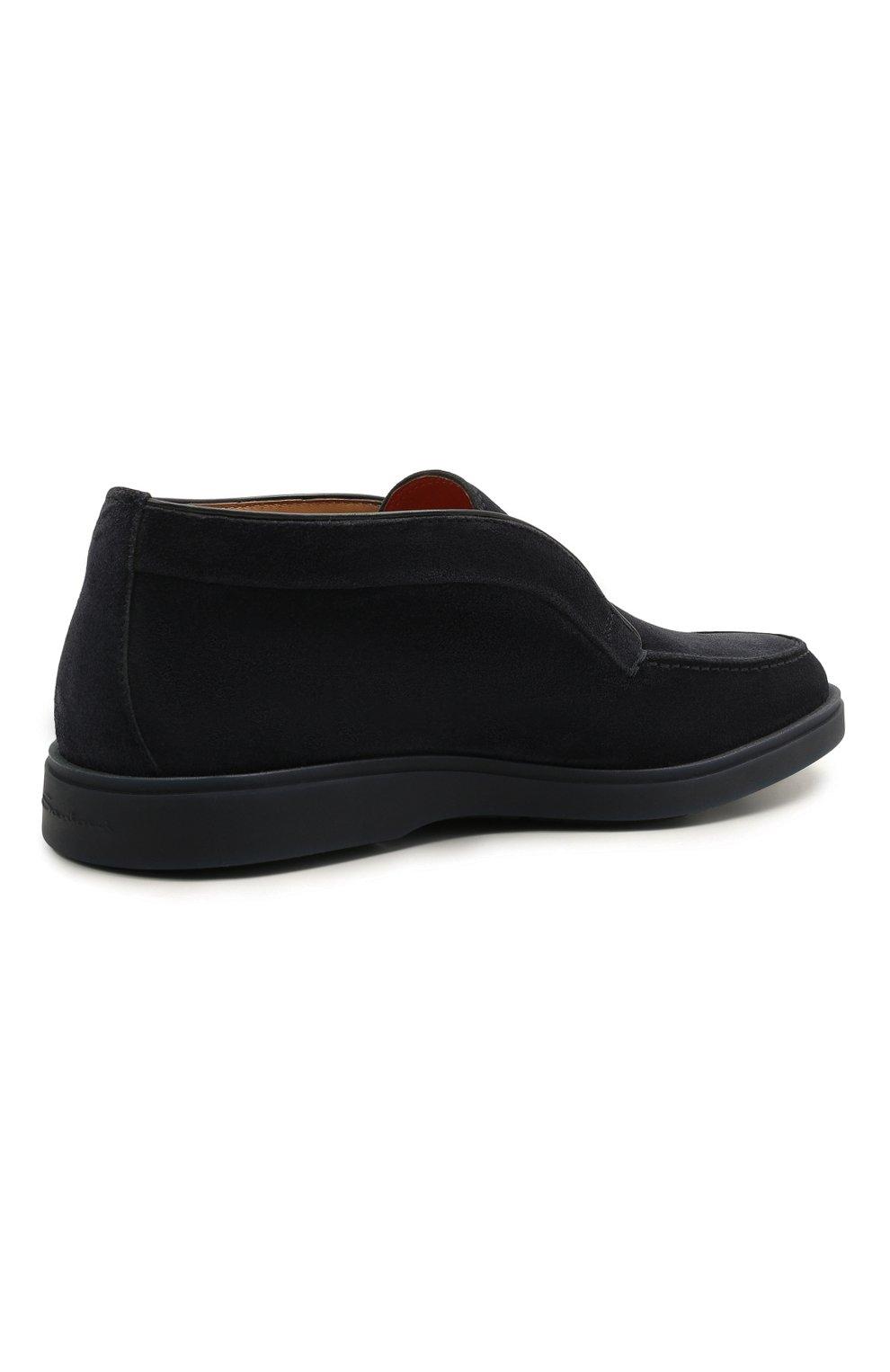 Мужские замшевые ботинки SANTONI темно-синего цвета, арт. MGDG1782300TESVUU60 | Фото 4 (Мужское Кросс-КТ: Ботинки-обувь; Материал внутренний: Натуральная кожа; Подошва: Плоская; Материал внешний: Замша)