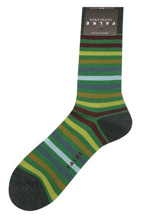 Мужские носки из смеси шерсти и хлопка tinted stripe FALKE зеленого цвета, арт. 13279 | Фото 1