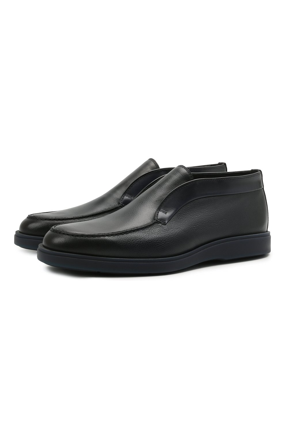 Мужские кожаные ботинки SANTONI темно-синего цвета, арт. MGDG1782300TANWLU59   Фото 1 (Материал утеплителя: Натуральный мех; Мужское Кросс-КТ: Ботинки-обувь, зимние ботинки; Подошва: Плоская)