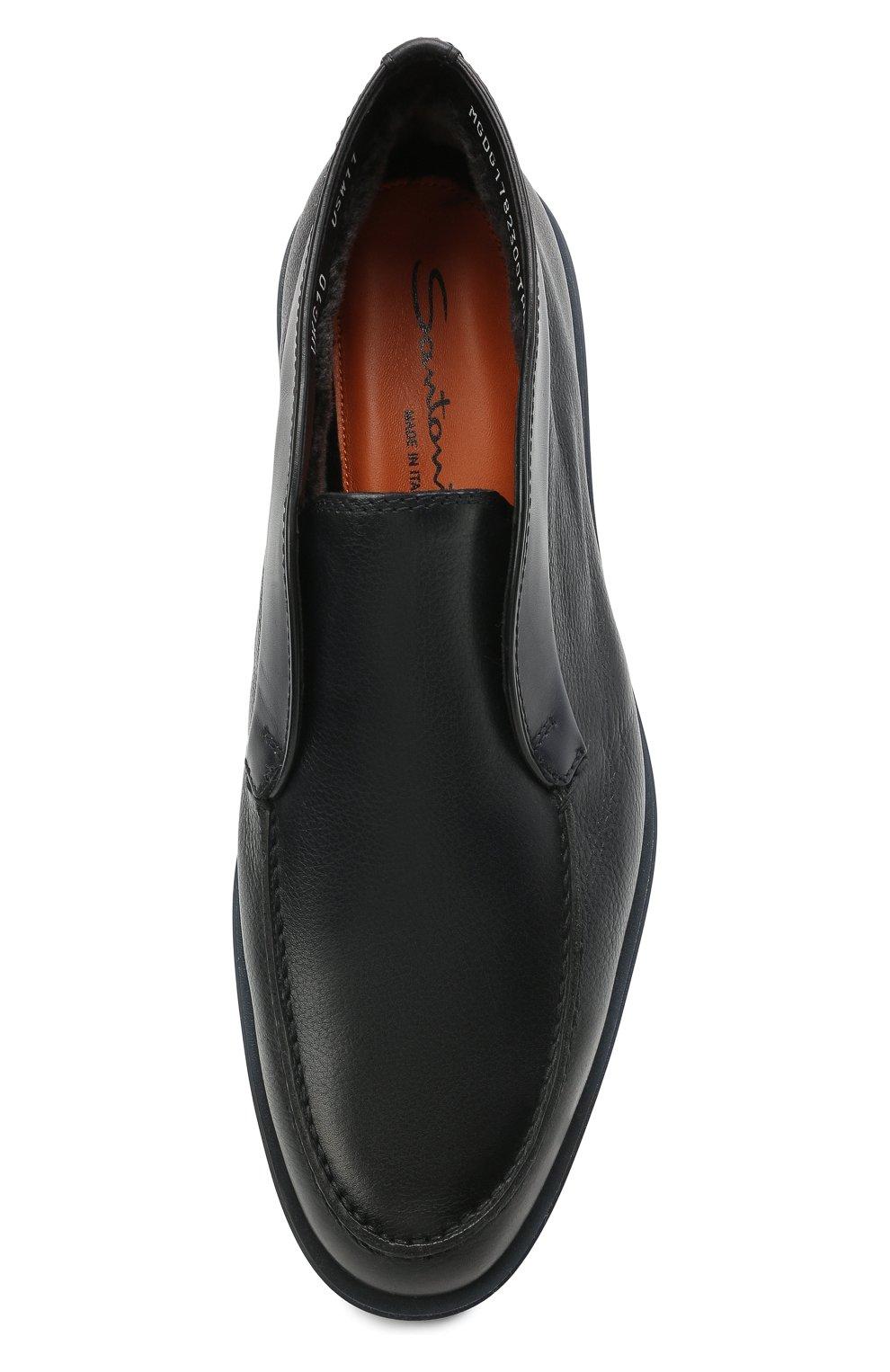 Мужские кожаные ботинки SANTONI темно-синего цвета, арт. MGDG1782300TANWLU59   Фото 5 (Материал утеплителя: Натуральный мех; Мужское Кросс-КТ: Ботинки-обувь, зимние ботинки; Подошва: Плоская)