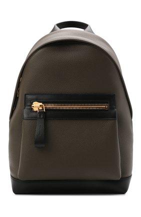 Мужской кожаный рюкзак TOM FORD хаки цвета, арт. H0397T-LCL037   Фото 1