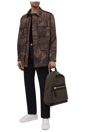 Мужской кожаный рюкзак TOM FORD хаки цвета, арт. H0397T-LCL037   Фото 2