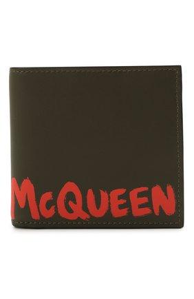 Мужской кожаное портмоне ALEXANDER MCQUEEN хаки цвета, арт. 602137/1AACG | Фото 1