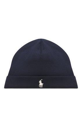 Детского хлопковая шапка POLO RALPH LAUREN синего цвета, арт. 320552454 | Фото 1
