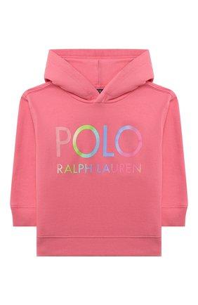 Детский хлопковое худи POLO RALPH LAUREN розового цвета, арт. 313841397 | Фото 1
