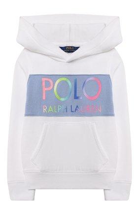 Детский хлопковое худи POLO RALPH LAUREN белого цвета, арт. 312841398 | Фото 1