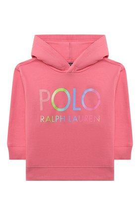Детский хлопковое худи POLO RALPH LAUREN розового цвета, арт. 312841397 | Фото 1