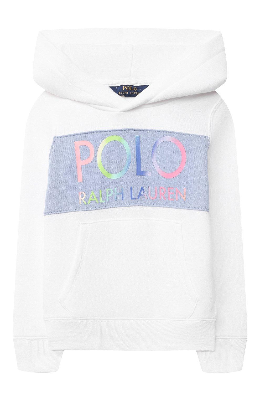 Детский хлопковое худи POLO RALPH LAUREN белого цвета, арт. 311841398 | Фото 1
