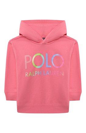 Детский хлопковое худи POLO RALPH LAUREN розового цвета, арт. 311841397 | Фото 1