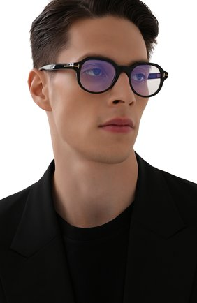 Мужские оправа TOM FORD черного цвета, арт. TF5697-B 001 | Фото 2 (Тип очков: Оправа; Очки форма: Круглые; Оптика Гендер: оптика-мужское)