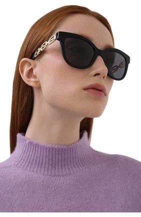 Женские солнцезащитные очки VERSACE черного цвета, арт. 4394-GB1/81   Фото 2 (Тип очков: С/з; Очки форма: Cat-eye, Бабочка; Оптика Гендер: оптика-женское)