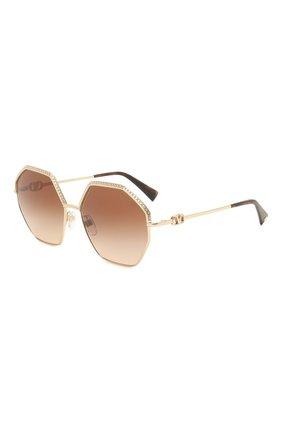 Женские солнцезащитные очки VALENTINO золотого цвета, арт. 2044-300213   Фото 1