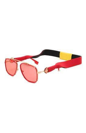 Женские солнцезащитные очки VERSACE красного цвета, арт. 2233-1472C8 | Фото 1 (Тип очков: С/з; Оптика Гендер: оптика-унисекс; Очки форма: Авиаторы, Прямоугольные)