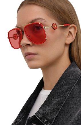 Женские солнцезащитные очки VERSACE красного цвета, арт. 2233-1472C8 | Фото 2 (Тип очков: С/з; Оптика Гендер: оптика-унисекс; Очки форма: Авиаторы, Прямоугольные)