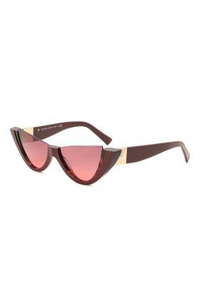 Женские солнцезащитные очки VALENTINO бордового цвета, арт. 4095-518020 | Фото 1 (Тип очков: С/з; Очки форма: Cat-eye, Бабочка; Оптика Гендер: оптика-женское)