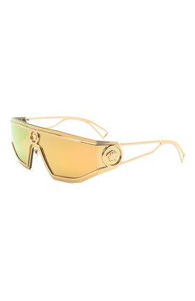 Женские солнцезащитные очки VERSACE золотого цвета, арт. 2226-10027P | Фото 1 (Тип очков: С/з; Оптика Гендер: оптика-унисекс; Очки форма: Маска, D-форма)