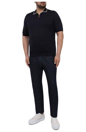 Мужское шелковое поло KITON темно-синего цвета, арт. UKL956/4XL-8XL | Фото 2