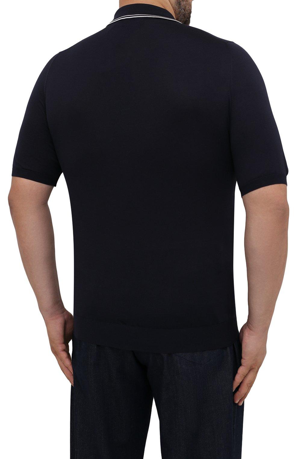Мужское шелковое поло KITON темно-синего цвета, арт. UKL956/4XL-8XL | Фото 4