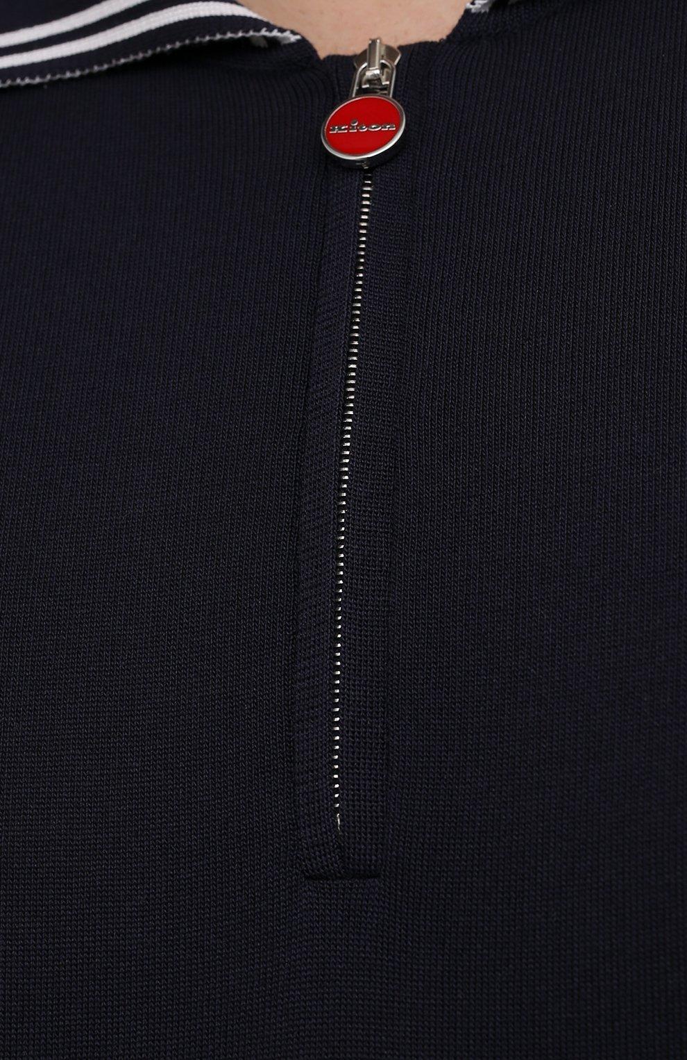 Мужское шелковое поло KITON темно-синего цвета, арт. UKL956/4XL-8XL | Фото 5