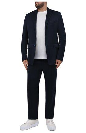 Мужские шелковые брюки ZILLI темно-синего цвета, арт. M0V-40-38P-E6041/0001/60-68 | Фото 2 (Материал подклада: Вискоза; Длина (брюки, джинсы): Стандартные; Случай: Повседневный; Материал внешний: Шелк; Стили: Кэжуэл; Big sizes: Big Sizes)