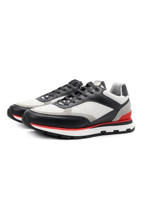 Мужские комбинированные кроссовки BOSS разноцветного цвета, арт. 50452595 | Фото 1 (Материал внешний: Текстиль; Подошва: Массивная)